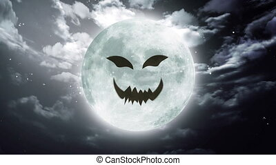 pumpkin face Large Halloween moon sky - pumpkin face...