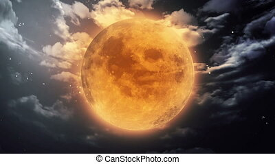 pumpkin Halloween moon dark sky - pumpkin orange color of...