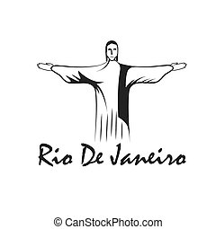 rio de janeiro illustration with Jesus Christ