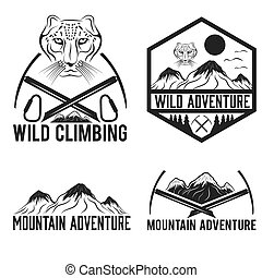 set of vintage labels mountain adventure with snow leopard