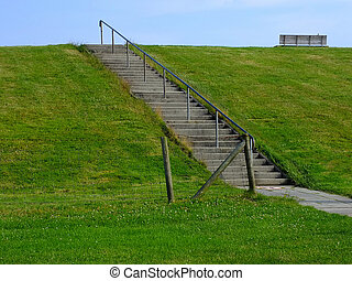 Dike - stairs on a dike along the north sea coast