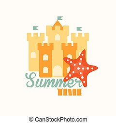 Sand Castle Vector Illustration in Flat Style - Sand castle...