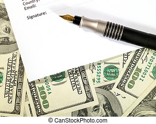 Money background under the contract form