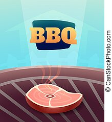 Barbecue BBQ Party invitation card, illustration poster background in cartoon style