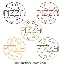 pizza labels craft line style