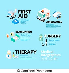 Medical healthcare infographic set with isometric flat...