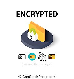 Encrypted icon in different style - Encrypted icon, vector...