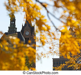 Autumn Clocktower - Autumn clocktower seen through yellow...