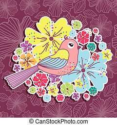 Beautiful pattern card with birds