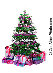 decorated Christmas tree with gifts isolated on white...