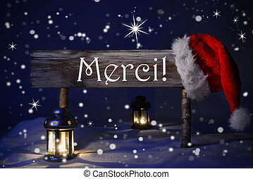 Christmas Sign Candlelight Santa Hat Merci Means Thank You -...