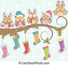 Christmas card with owls
