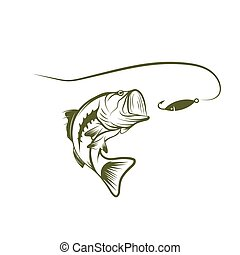 bass and lure vector design template