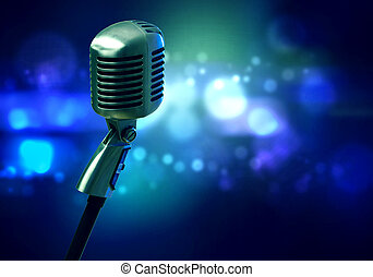 Microphone on stage - Close up of microphone in concert hall...