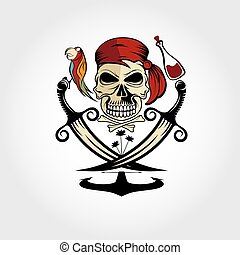 pirate skull with parrot,rum,anchor and palms