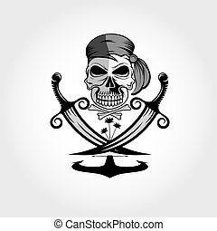 pirate skull with swords,anchor and palms