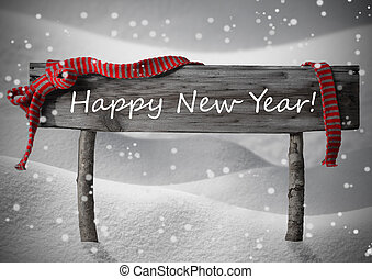 Gray Christmas Sign Happy New Year Snow, Red Ribbon,...