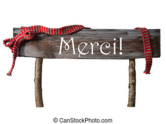 Brown Isolated Christmas Sign Merci Mean Thank You, Red...