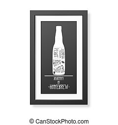 Typographical Background in the realistic square black frame...
