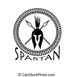 spartan helmet with spears and shield