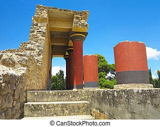 ruínas, de, a, Minoan, Palácio, de, Knossos,...