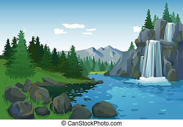 Beautiful Landscape With Waterfall - Summer landscape with...