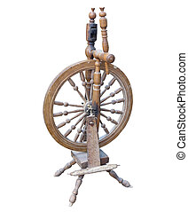 Old Wooden spinning Wheel isolated on white background