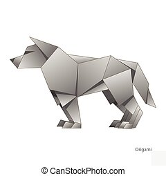 Origami paper wolf vector illustration - Origami paper wolf...