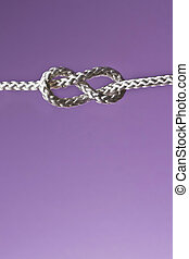 eight rope knot - rope knot isolated on the purple...
