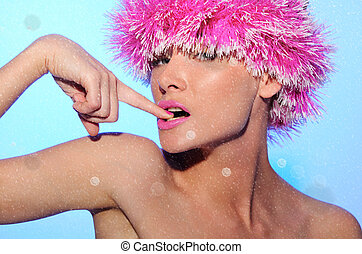 charming woman in pink wig, with snow