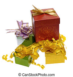 Gift boxes with ribbon on white Is not isolated, just shot...