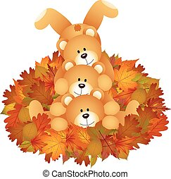 Stuffed teddy bears on set fall leaves - Scalable vectorial...