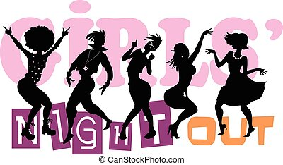 Girls Night Out - EPS 8 vector illustration with black...