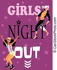 Girls night out - Girls night out invitation design with two...