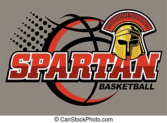 spartan basketball team design with helmet and large...