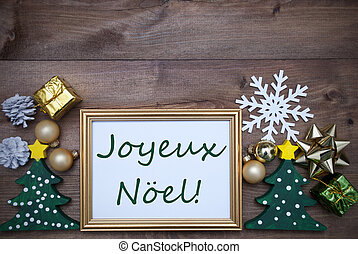 Frame With Decoration, Joyeux Noel Mean Merry Christmas -...