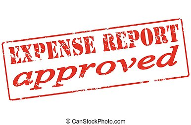 Expense report approved - Rubber stamp with text expense...