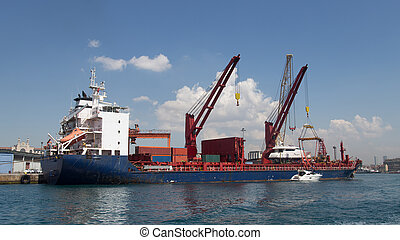 Cargo Ship is waiting in a port