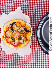 pizza in crock pot. selective focus