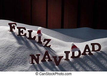 Card With Santa Hat, Snow, Feliz Navidad Mean Merry...