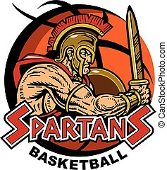 spartan basketball - spartan team design with muscular...