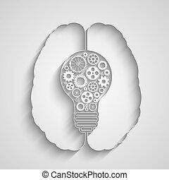 Human brain creating a new idea. Creative bulb with gears.