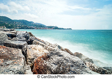 mediterranean sea long exposure in Lerici - Italy - blue...