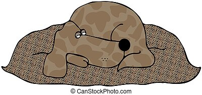 Sleeping Dog - This illustration depicts a dog napping on a...