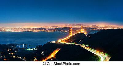 Golden Gate Bridge in San Francisco at night panorama