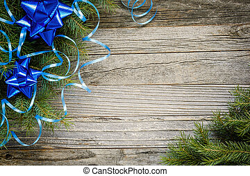 Frame of Christmas Tree Branches with Decorations
