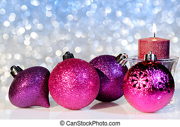 Christmas Balls and Candle on a Festive Background - Purple...