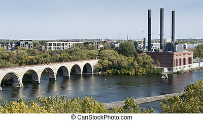 Mississippi River at Minneapolis - Mississippi River flowing...