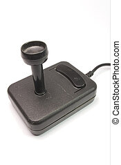 video joystick - vintage video joystick from 80s on white...