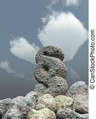 paragraph symbol rock under cloudy blue sky - 3d...